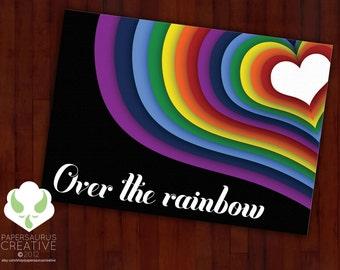 Greeting card: Over the rainbow — love, rainbow, dreams