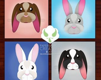 Prints: Lottie Bunnies, set of four prints — nursery, bunny, art