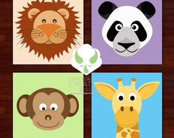 Prints: Zoo animals, set of four prints — nursery, animal, art