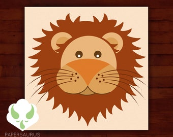 Print - choose 1 of 4 designs 5X5 prints - zoo animals - lion, panda, monkey, giraffe
