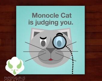 Print: lolcat inspired — monocle cat