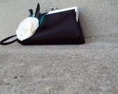 Black Wristlet Purse with Teal Feathers and White Fabric Flower