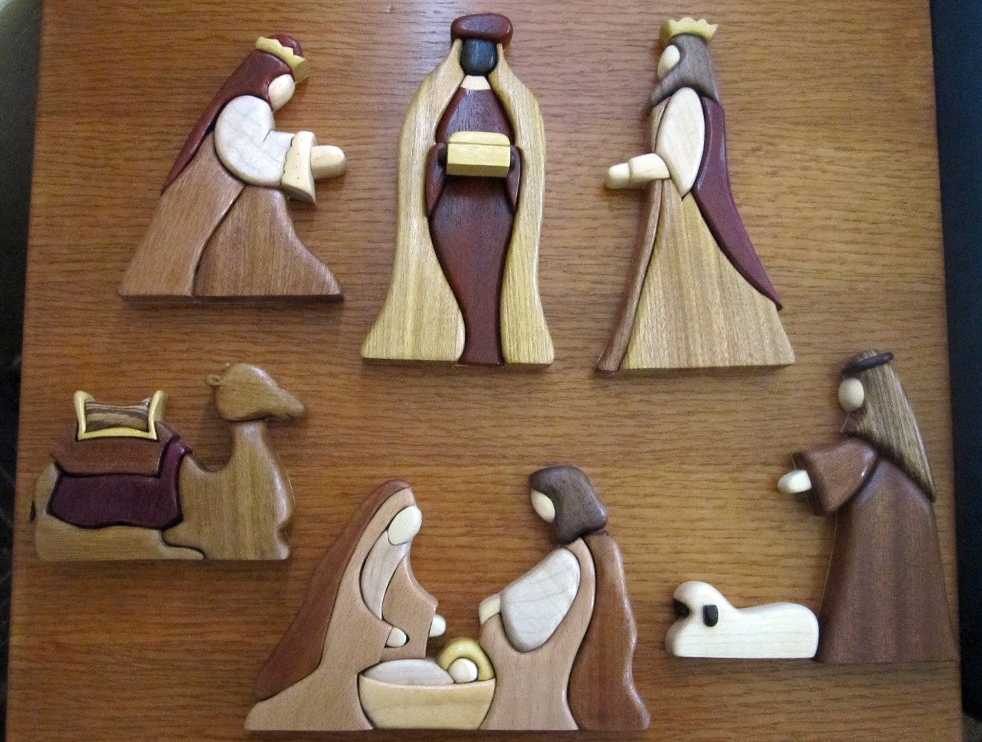 Exotic wood intarsia nativity set by happywood on etsy for Nativity cut out patterns wood