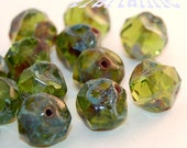 Two Sets of Czech Peridot Transparent Green Picasso 5x9mm Central Cut Baroque Beads, with Free Shipping