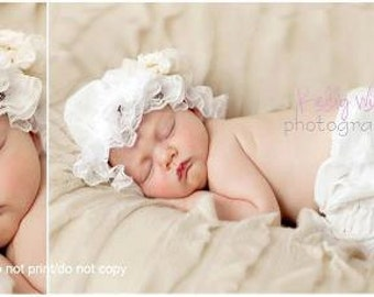 Ruffle Hat and Bloomer Set in White