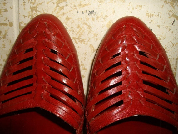 9 West Woven Leather Wedges - 7