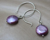 Purple coin pearl earrings