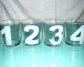 1-12 etched numbered bucket glasses