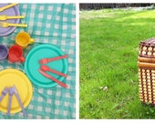 Hold for April. Vintage 70s Colorful Picnic Basket Set