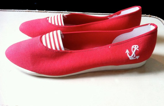 Red Stripes Nautical Slip On Summer Sneakers- Size 8