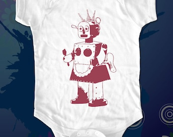 vintage robot 1b female robot - graphic printed on Infant Baby One-piece, Infant Tee, Toddler T-Shirts - Many sizes