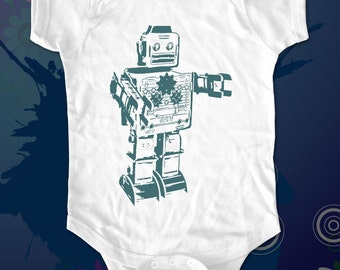 vintage robot 1a male robot - graphic printed on Infant Baby One-piece, Infant Tee, Toddler T-Shirts - Many sizes