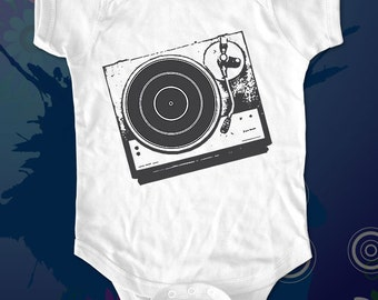 DJ Turntable 1 - graphic printed on Infant Baby One-piece, Infant Tee, Toddler T-Shirts - Many sizes