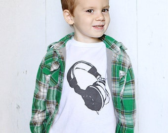 DJ headphones - graphic printed on Infant Baby One-piece, Infant Tee, Toddler T-Shirts