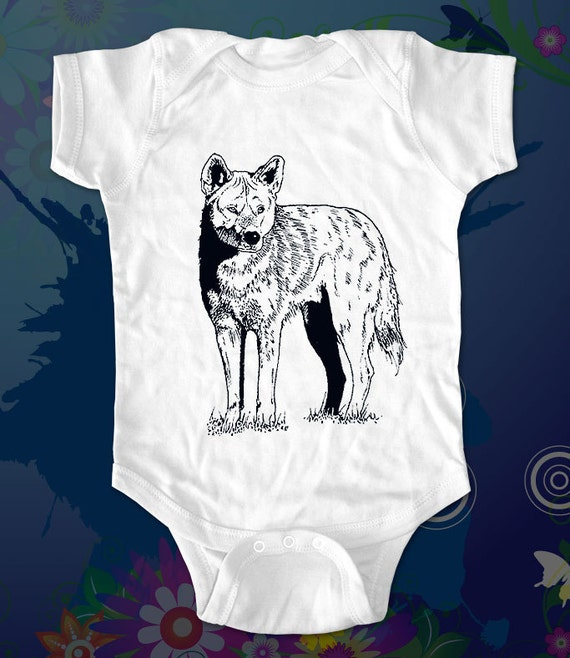wolf 2 - graphic printed on Infant Baby One-piece, Infant Tee, Toddler T-Shirts - Many sizes