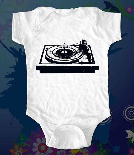 DJ Turntable 2 - graphic printed on Infant Baby One-piece, Infant Tee, Toddler T-Shirts - Many sizes and colors