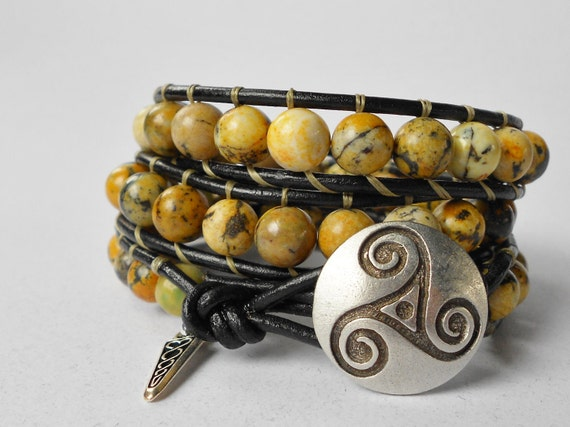 Sundance: Beaded Leather Wrap Bracelet - Yellow Turquoise - Silver Celtic Button - Silver Celtic Charm