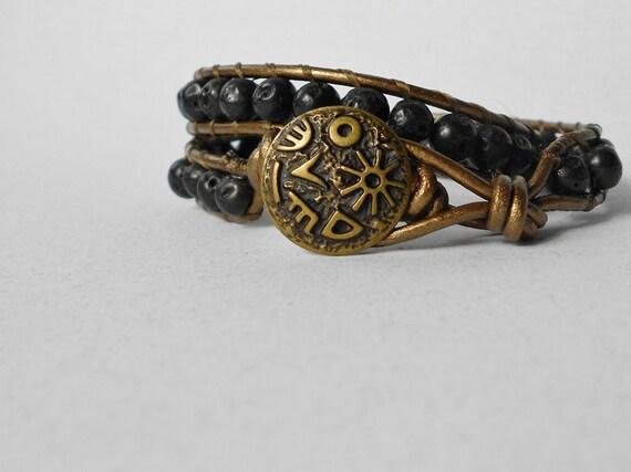 Made in USA: Beaded Leather Wrap Bracelet - Black Lava - Metallic Bronze - Bronze Egyptian Hieroglyphics Button