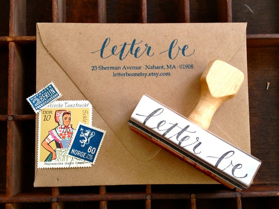 CALLIGRAPHY ADDRESS STAMP - Return Address in Script & Type - Weddings, Branding, Custom - Wooden Handle