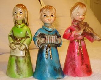 Vintage choir children paper mache figurines Christmas