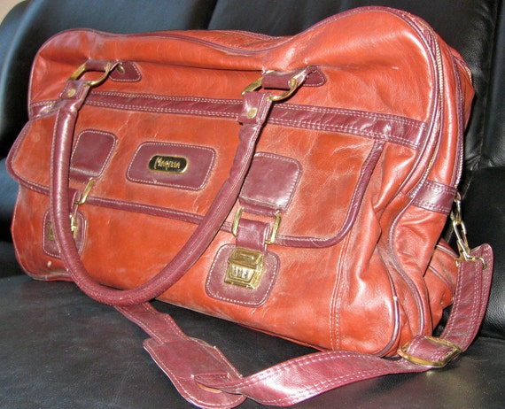 Vintage 1970s Carry On Brown Pleather Travel Bag