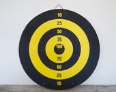 vintage red, yellow and black doublesided dartboard