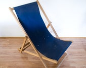 reserved fpr dominic - vintage navy blue folding deck chair