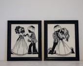 reserved - vintage set of boy and girl dancing framed felt prints