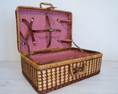 reserved for zoe - vintage wicker picnic basket with red and white checked interior