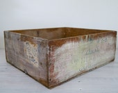reserved for annette - vintage industrial whitewashed cognac wooden crate