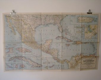 1947 countries of the caribbean national geographic wall map