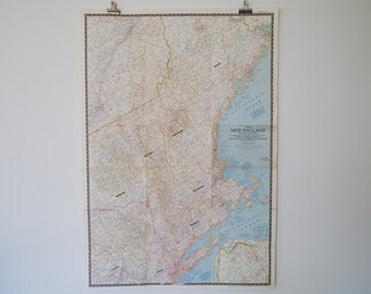 1955 new england with descriptive notes national geographic wall map