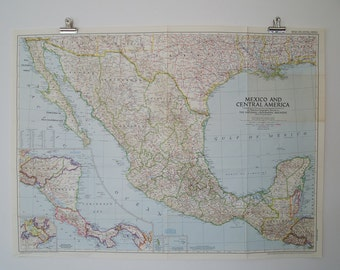 1953 vintage mexico and central america national geographic wall map