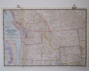 1950 vintage northwestern united states and neighboring canadian provinces national geographic wall map