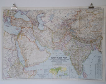 1952 national geographic wall map of southwest asia (india, pakistan, and northeast africa)