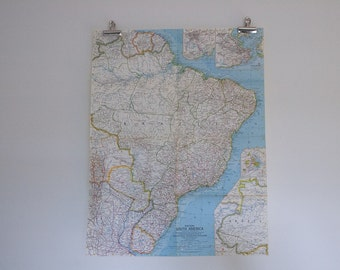 1962 vintage eastern south america national geographic wall map