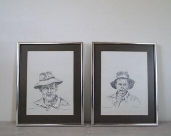 vintage framed pencil drawing portrait pair
