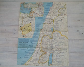 1963 vintage holy land today descriptive national geographic wall map