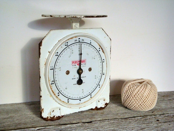 reserved for amber - vintage persinware white 714 kitchen scales