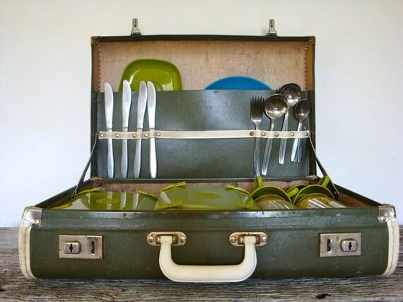 vintage olive green picnic set suitcase