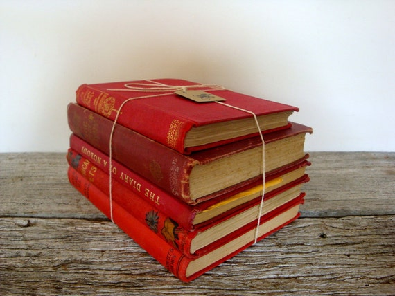 reserved for kellie - vintage red book collection from 1800s to 1940s