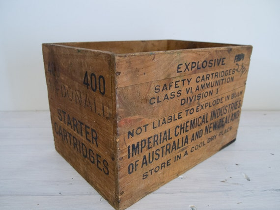 reserved for catherine - vintage industrial ammunition wooden crate with black typography