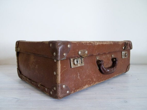 reserved for susie & andy - vintage battered brown board suitcase