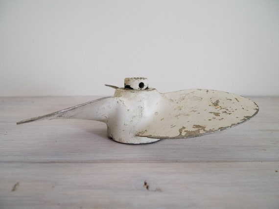reserved for georgia - vintage industrial white chippy boat propeller