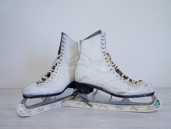 vintage white leather ice skates, size 7.5, made in england