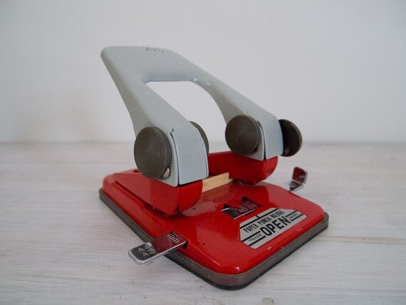 reserved - vintage fire engine red hole punch