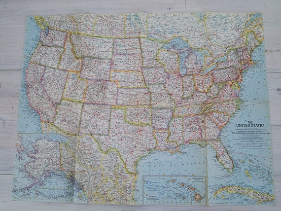 1961 national geographic wall map of the united states of america
