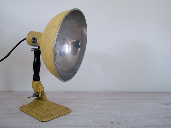 vintage industrial yellow converted heat lamp