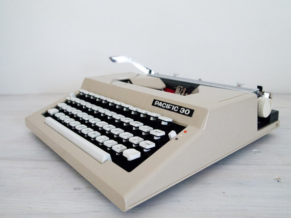 reserved for alichia - vintage ecru and white bulgarian pacific 30 portable typewriter with hard case and original manual