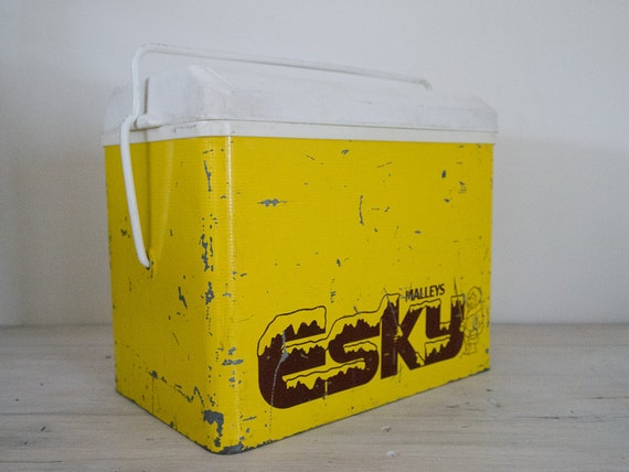 reserved for arquie - vintage sunshine yellow metal cooler/esky